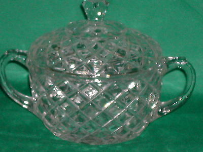 Anchor Hocking Waterford Waffle Double Handled Oval Sugar Bowl with Lid