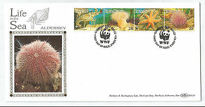Alderney 1993 Sea Life Strip Of 4 On Benham Silk Limited Edition First Day Cover