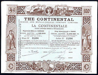 Continental Mining and Metallurgical Co. (Ltd.)., £4 share, 1890