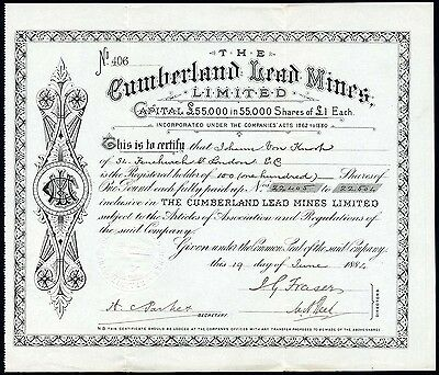 Cumberland Lead Mines Ltd., £1 shares, 1884
