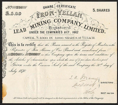 Fron-Vellan Lead Mining Co. Ltd., 5 shares of £1, 1870