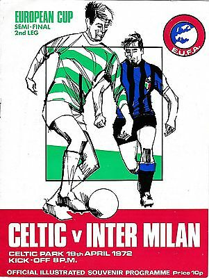 Football Programme CELTIC v INTER MILAN Apr 1972 European Cup Semi-Final