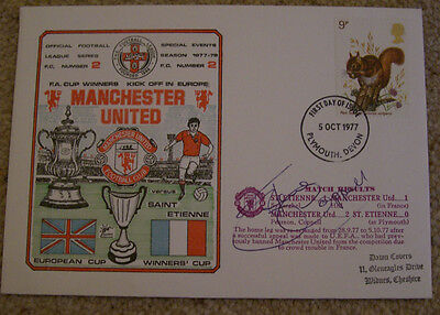 Steve Coppell - Manchester United v St Etienne signed Dawn FDC