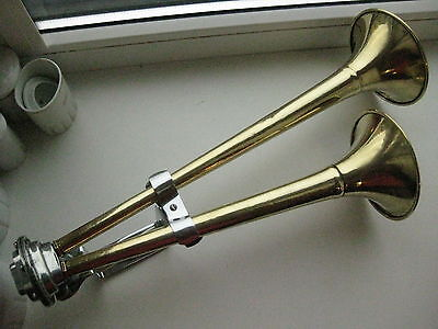 Old USSR brass ship air double horn