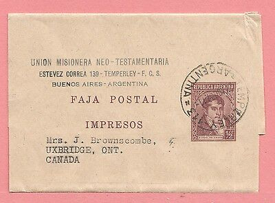 1937 Argentina Stationery Newspaper Wrapper Temperley Cancel To Canada