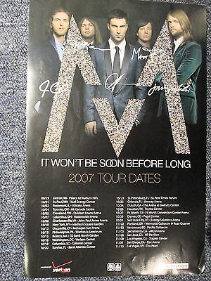 """Maroon5 Concert Poster TOUR POSTER Signed by all 5 members! 12"""" X 18"""" ORIGINAL !"""