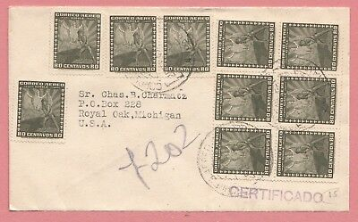 1947 Chile Unusual Franked Registered Airmail Cover To Usa