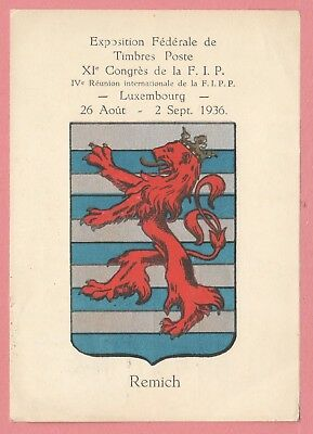 1936 Luxembourg Philatelic Expo Postcard W/ Cancel Remich