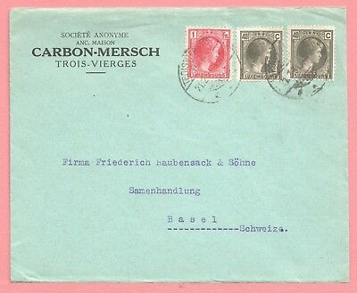 1930s LUXEMBOURG TRI FRANKED COVER BUSINESS CORNER TO SWITZERLAND