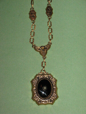 1800s Rolled Gold Mourning Pendant Onyx Pearl