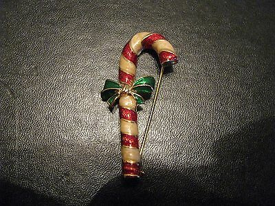 Vintage Christmas Pin Brooch Gold tone Enamel Candy Cane P25