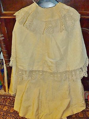 lovely edwardian cape 1900's machine silk and yards of deep lace antique fabric