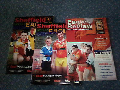 3 sheffield eagles rugby league  programmes