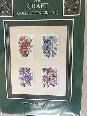 Cross Stitch - Set of 4 Florals by the Craft Collection - Brand New