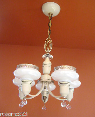 Vintage Lighting antique 1930s Art Deco set   Pair chandeliers   Pair sconces