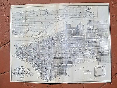 1852 Large Map City Of New York,geo Hayward; Facsimile From   Valentines Manual