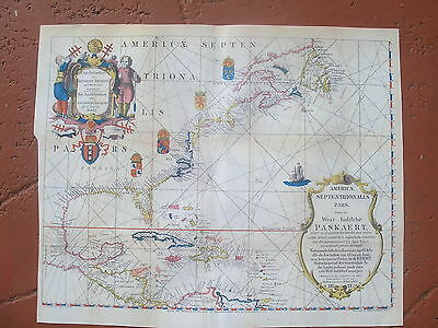 1621 Early Map Of North & Central America,  Facsimile From   Valentines Manual