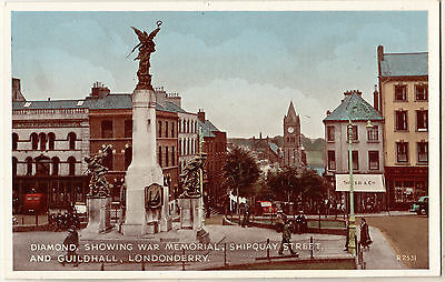 Diamond Showing War Memorial Shipquay Street And Guildhall Londonderry Postcard