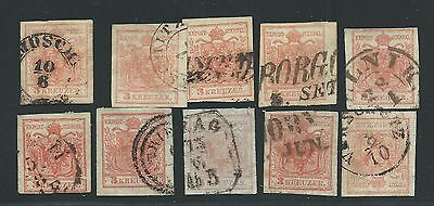 Lot of 10 Austria 1850 3Kr Stamps, Asst. Types, Cancels andd Shades