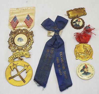 Lot of 6 Antique FIRE RIBBONS & BADGES Hilton Hose Co. Lorain Co. FIRE WAGON