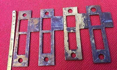 4) Four Antique Vtg Mortise Lock Striker Strike Plate Catch Keep Part Jamb Steel