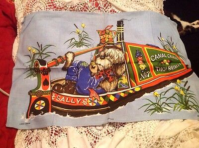 vintage tea towel Bargee Dog On A Canal Barge By Linen Union