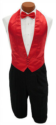 Bright Christmas Red Satin Openback Tuxedo Vest & Bow Tie Mens Size  Fit All