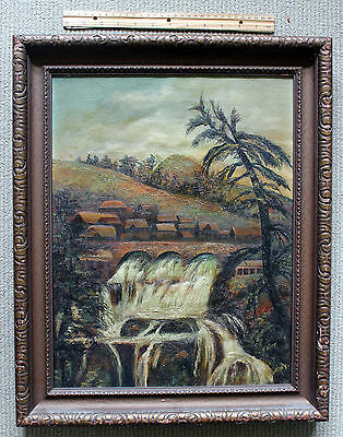 Antique Oil on Canvas Folk Art Painting/signed/late 1800s/Funky!