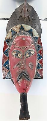 Stunning / Large / Antique Carved Wooden African Tribal Mask, Egyptian Beard.