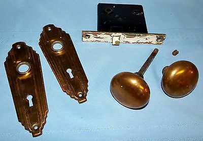 Antique Art Deco Brass/Copper Metal Door Knobs, Back Plates & Mortise Set