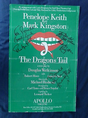 Signed Poster The Dragons Tail Penelope Keith 1985 Apollo Theatre