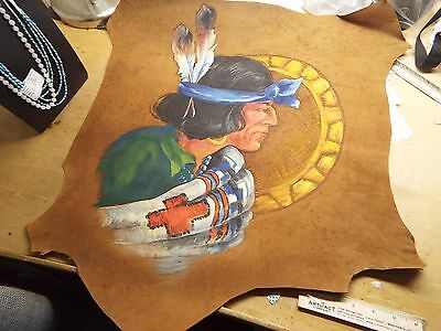 Vintage Native American Indian Leather HIDE PAINTED INDIAN