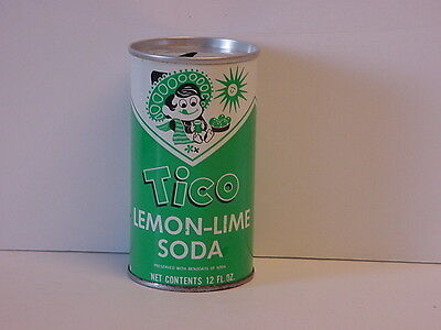 Vintage Tico Lemon-Lime Soda Straight Steel Pull Tab Top Opened Pop Can