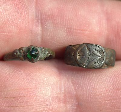 2 Ancient Old Medieval Bronze Child Rings Artifacts LOT One With Emerald Stone