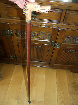 Whippet Wooden Carved Walking Stick Cane Wood Handle Greyhound Top Walking Stick