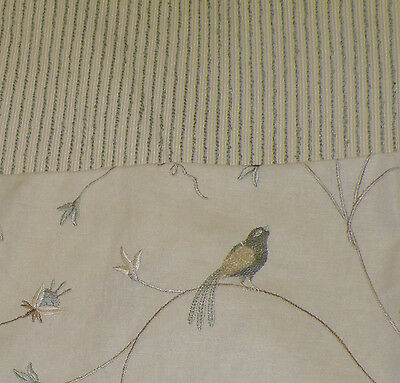 Embroidered Linen Bird Remnants & Coord Upholstery Stripe Boucle Fabric