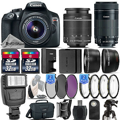 Canon EOS Rebel T6 / 1300D Camera + 18-55mm IS + 55-250mm STM - 64GB Kit Bundle