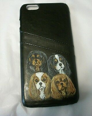 Hand Painted Cavalier King charles iphone 6 plus/6s Plus leather snap on case