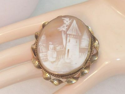 Large Pictorial Shell Cameo Brooch TLC