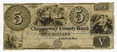 1848 $5 The Chippeway County Bank - Sault De St. Mary, MICHIGAN Note