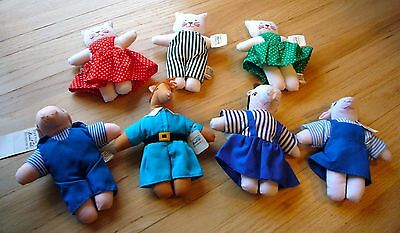 Set 7 Dayton-Hudson Animals Dressed Small Plush Rare Fields Cat Horse Pig Cow
