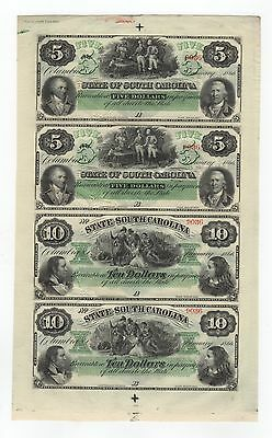 (Uncut Sheet) 1866 The State of SOUTH CAROLINA Notes AU/UNC