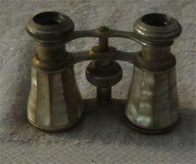 Vintage Victorian Brass & Mother of Pearl Opera Glasses / French Binoculars