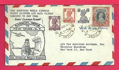 1947 India First Flight Airmail Cover Clipper Karachi To Ny Fam 18 Aamc F18-51
