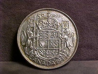 Canada 50 Cents Silver Coin 1945 XF/AU