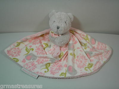 Blankets and Beyond Gray Bear Pink Security Blanket Baby Lovey Pacifier Holder
