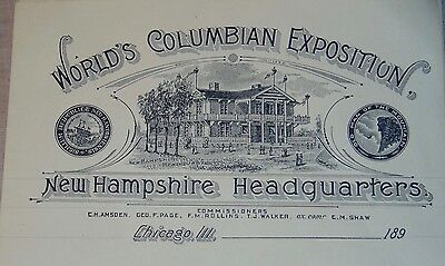 TWO SHEETS Stationery 1890'S WORLD COLUMBIAN EXPOSITION New Hampshire