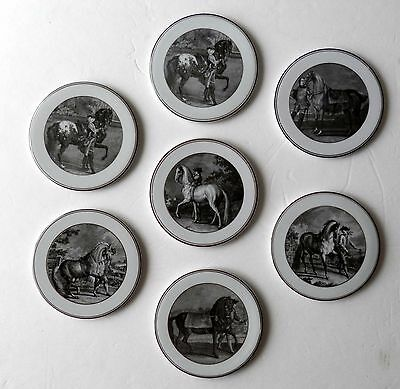 7Pc  Vista Alegre Portugal Porcelain  Beer Coaster Trivet Vintage Horses Decor