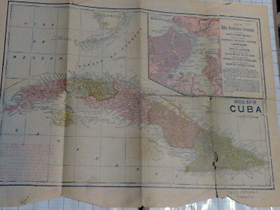 antique TRUMBULL WHITE add-in MAP of CUBA & WORLD two-sided fold-out / restore