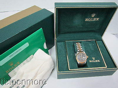Rolex Black Tapestry Dial Datejust Jubilee Two-Tone Watch W/ Box & Papers Ladies
